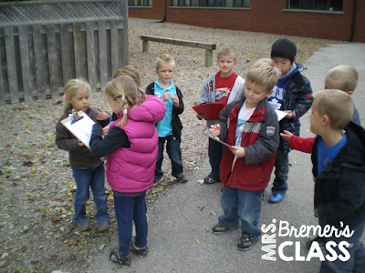 Take learning outside! FREE fall scavenger hunt where students can search outdoors for signs of the changing season. Perfect for PreK-1st grade. #fall #scavengerhunt #freebies #kindergarten #1stgrade #seasons #kindergartenscience