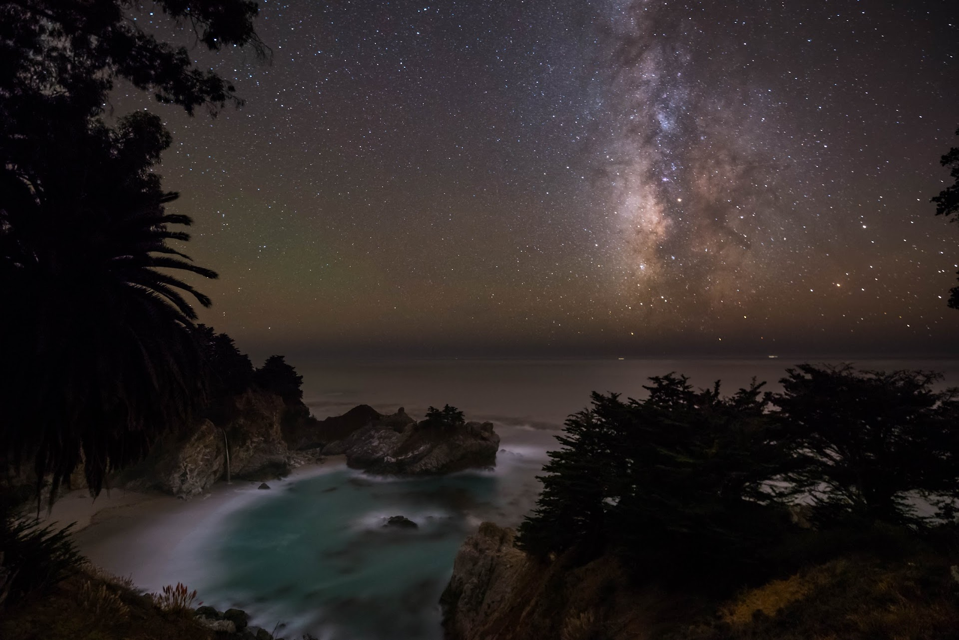 mcway falls photography, milky way, waterfall, night photography, composite, photoshop, stacking photos, beach, big sur, monterey county, california travel blogger, photgrapher, san francisco bay area, north bay