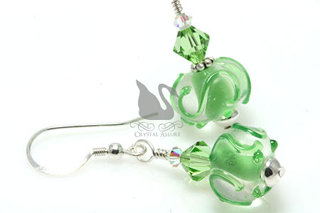 Peridot Crystal Swirl Lampwork Beaded Earrings (EL250)