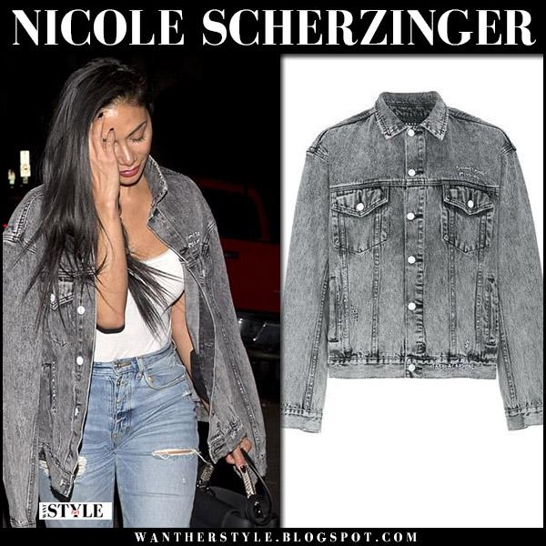 Nicole Scherzinger in grey denim ksubi jacket and ripped jeans street fashion april 3