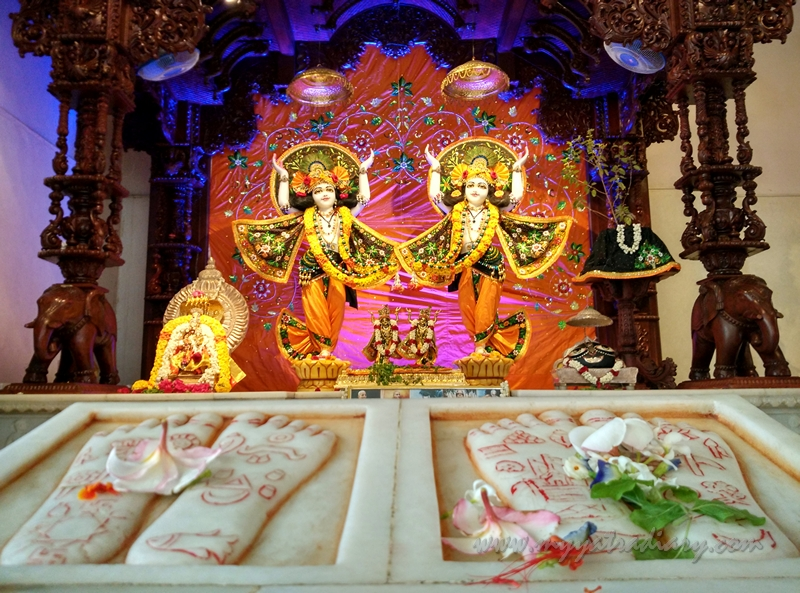 Deities of Lord Nityananda and Chaitanya Mahaprabhu in ISKCON Temple, Chennai