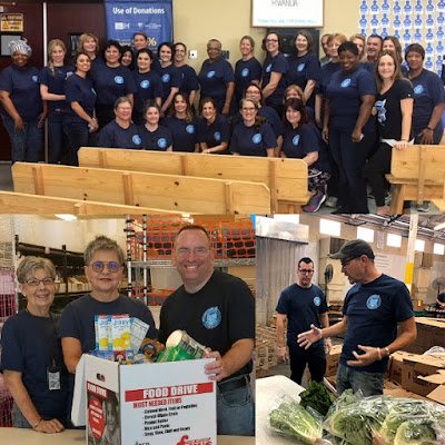 Collage of images featured below in blog of Rio Salado employee groups at volunteer events.