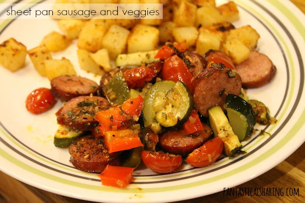 Sheet Pan Sausage and Veggies #recipe #sausage #zucchini #maindish #onepan
