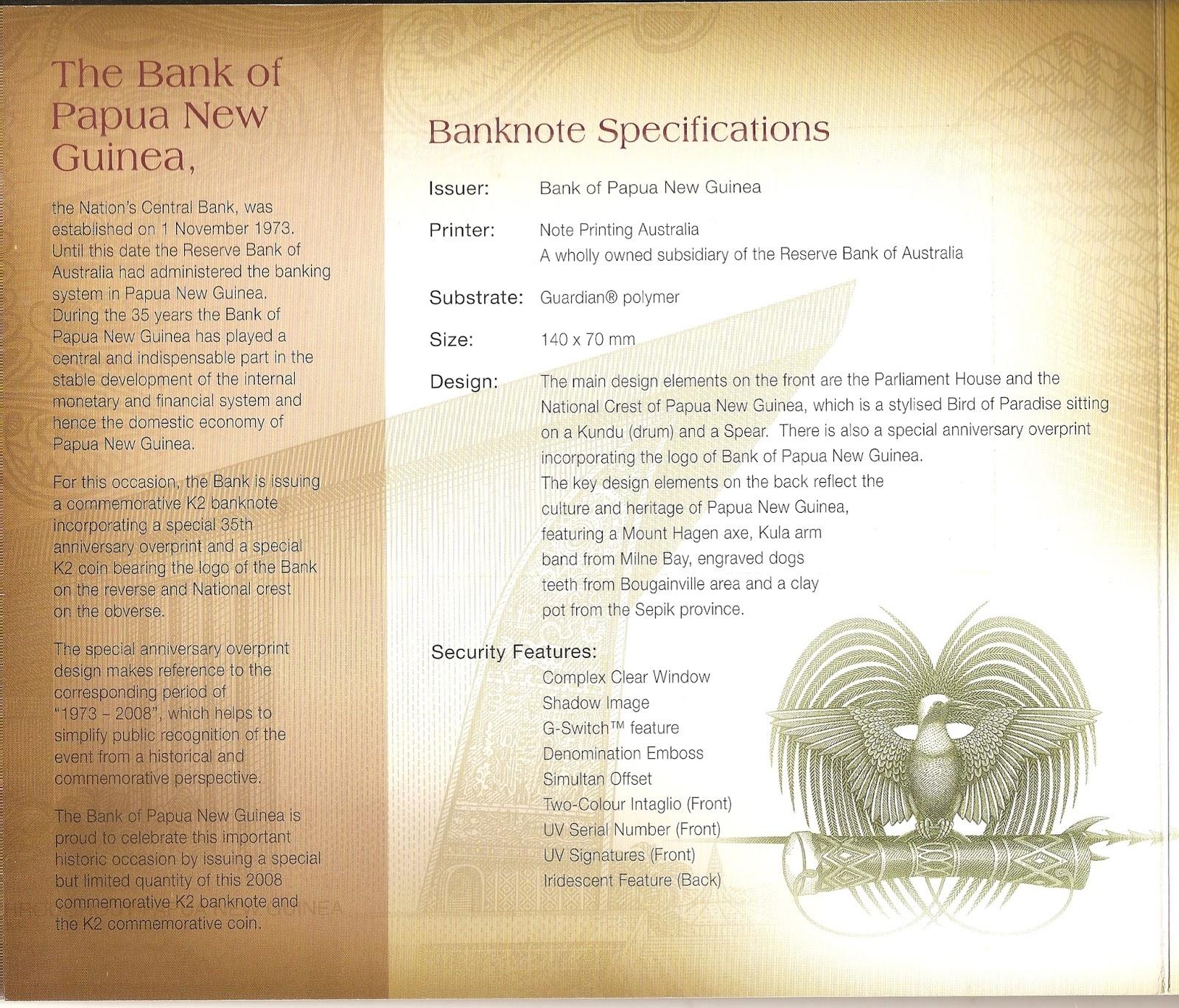 PAPUA NEW GUINEA COLORED COMMEM. 2008 UNCIRCULATED 50 TOEA 35TH BANK ANNIV