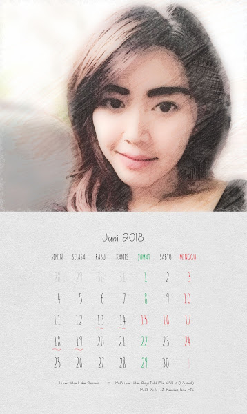 Desain Kalender Indonesia 2018 - Juni