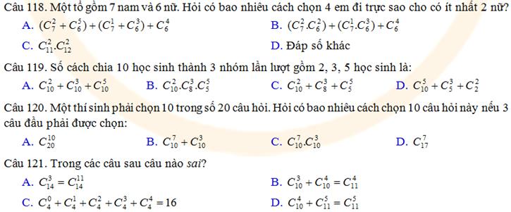 Tai lieu trac nghiem xac suat thong ke: quy tac dem, hoan vi, chinh hop, to hop, nhi thuc Niuton