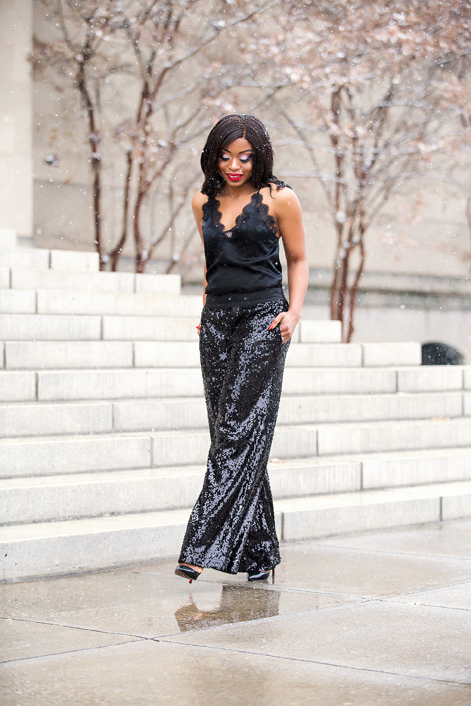 lace cami, sequin palazzo pants, www.jadore-fashion.com