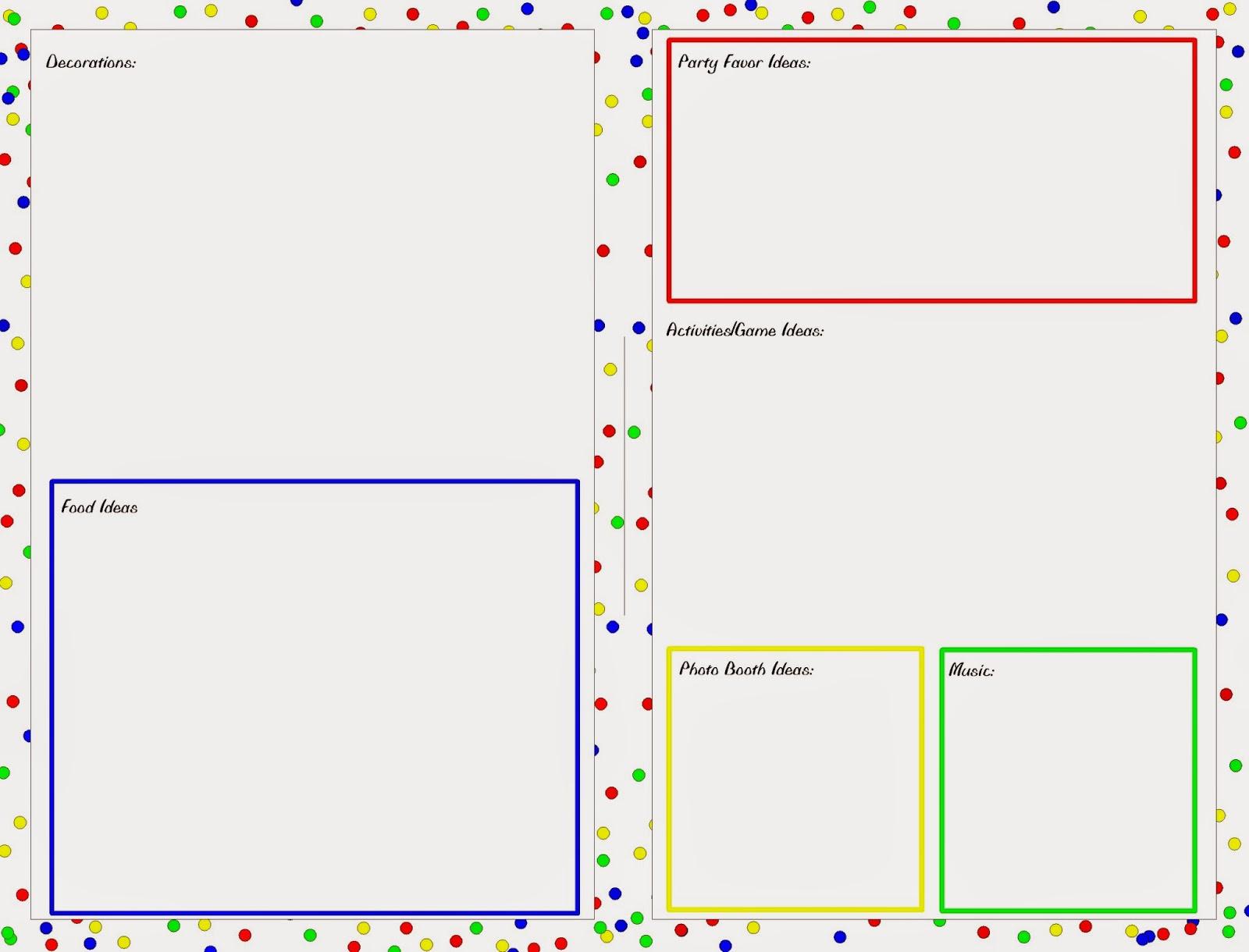 Party Planning Worksheet Planner Printable
