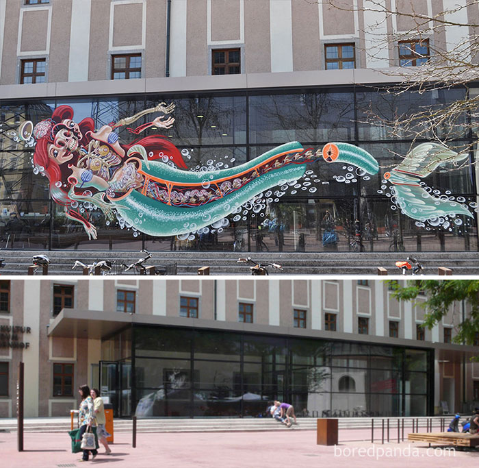 10+ Incredible Before & After Street Art Transformations That'll Make You Say Wow - Dissection Of The Little Mermaid, Linz, Austria