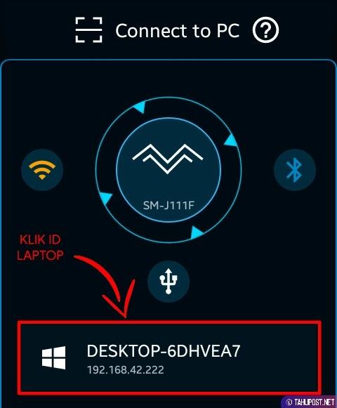 Pilih Perangkat - Cara Menampilkan Layar HP ke Laptop