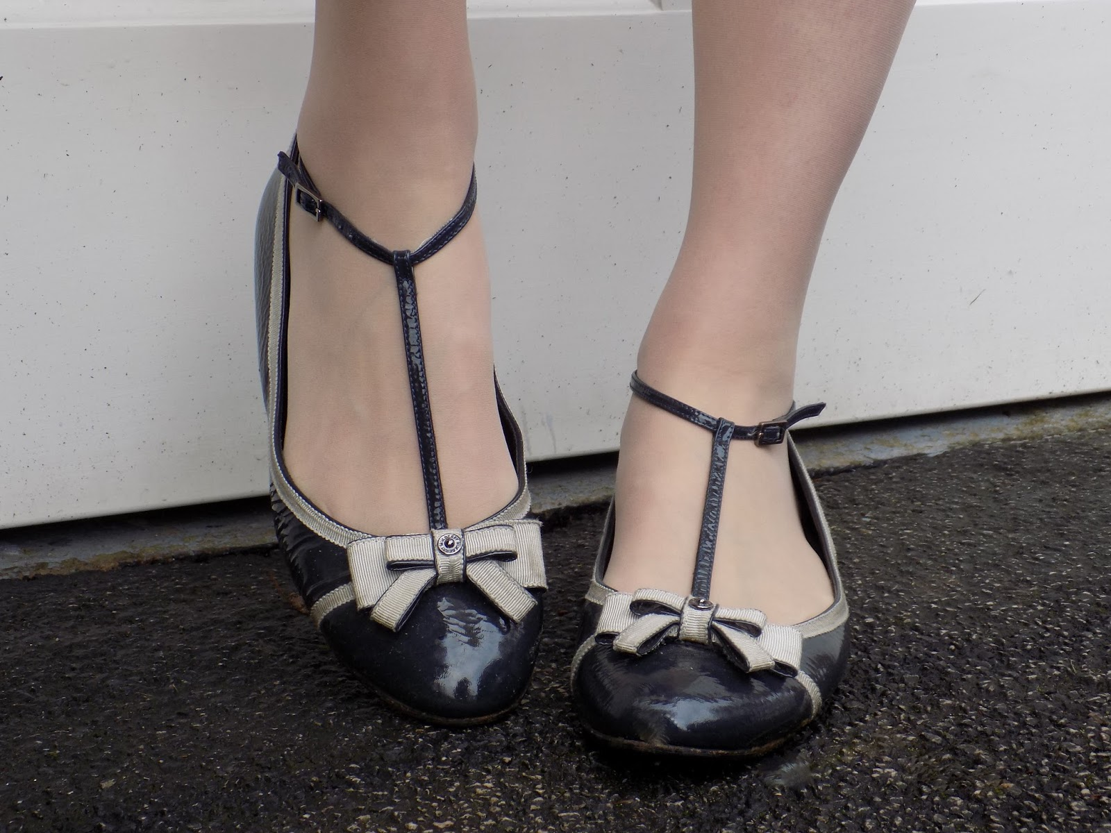 Mulberry spongy patent grosgrain bow Mary Jane flat shoes