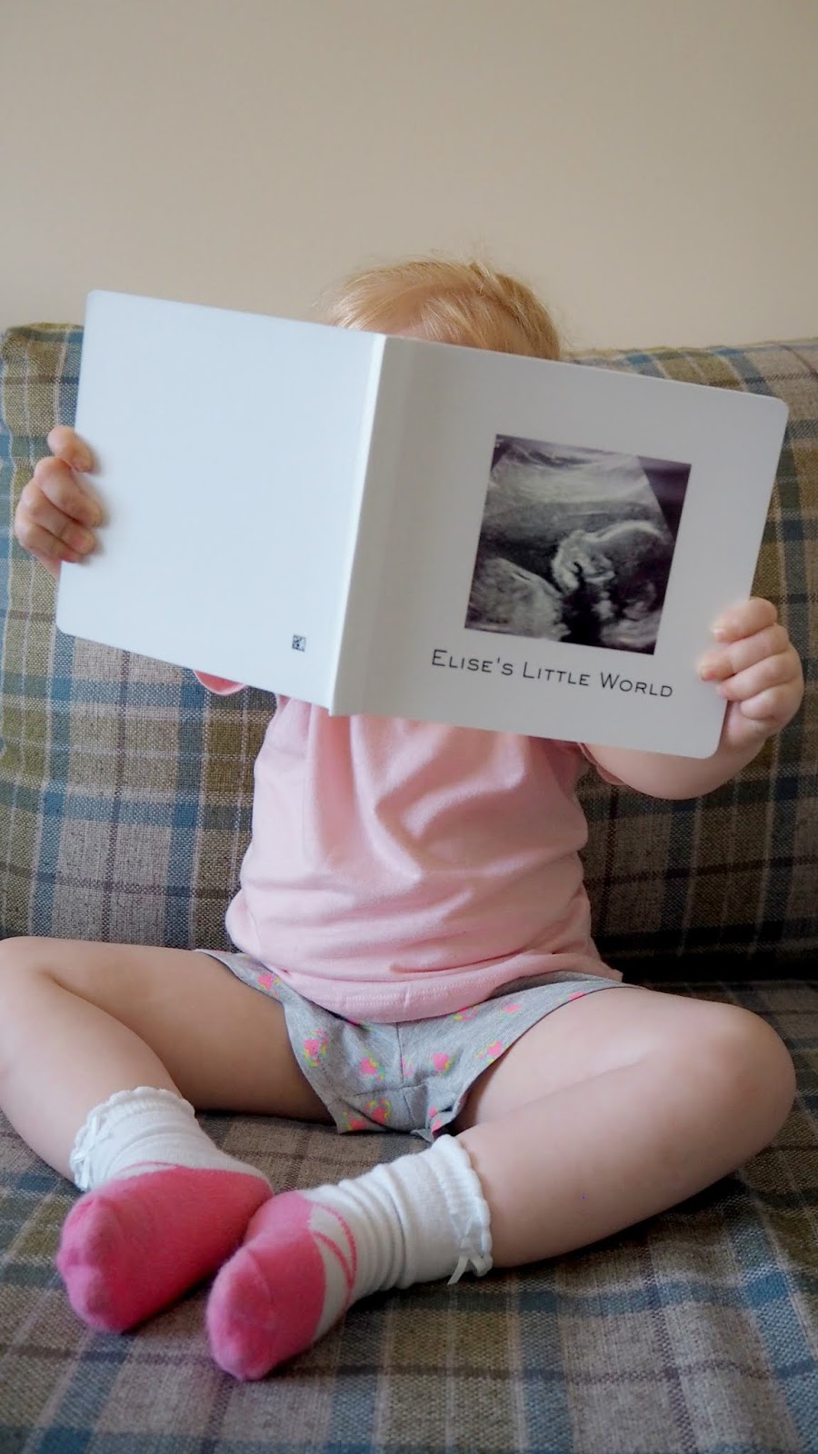 "Elise holding up the book so that you can see the cover. The cover has a pregnancy scan photo of her and the words ""Elise's little world"""