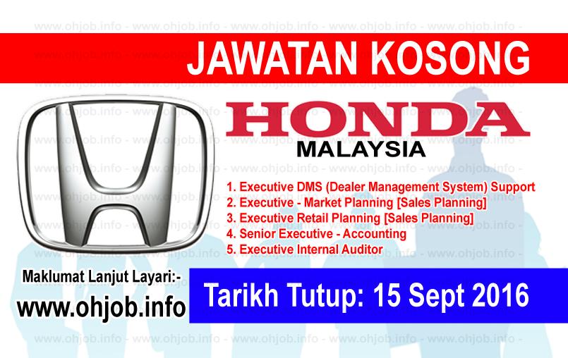 Jawatan Kerja Kosong Honda Malaysia logo www.ohjob.info september 2016