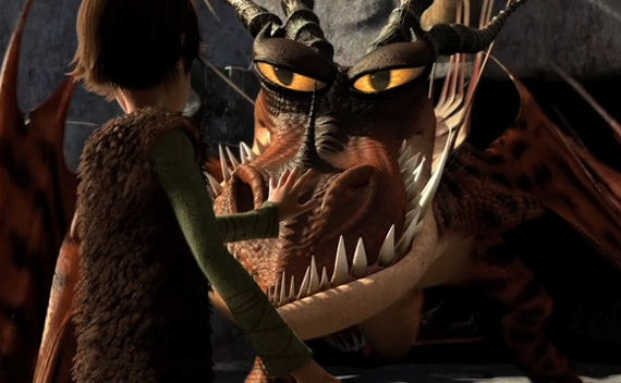 Hiccup talking to a scary dragon in How to Train Your Dragon 2010 animatedfilmreviews.filminspector.com