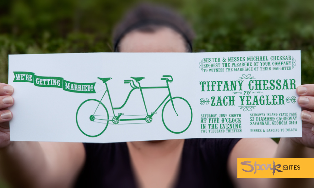 Tandem Bike Wedding Invitations: SPARKVITES: TANDEM BICYCLE WEDDING INVITATION