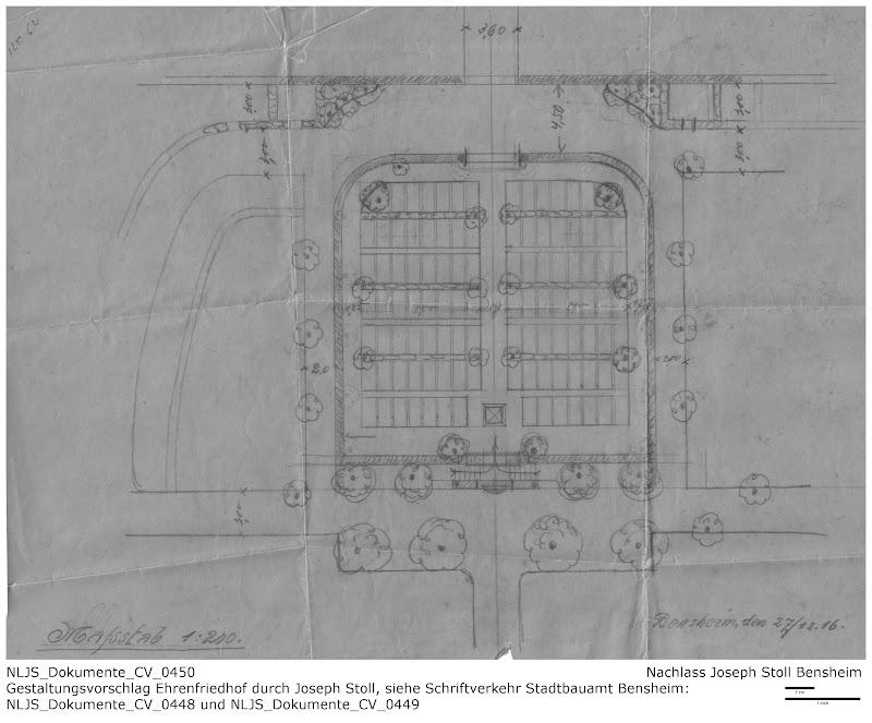Joseph Stolls Entwurf für den Bensheimer Ehrenfriedhof Erster Weltkrieg; Quelle: Nachlass Joseph Stoll, Stoll-Berberich 2016