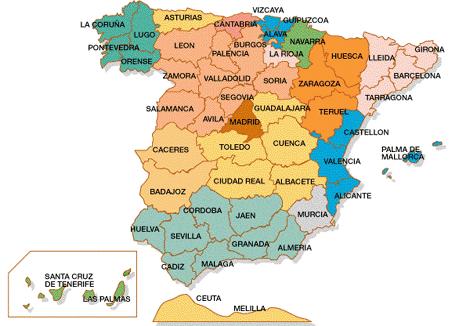 Mapa De Provincias Españolas.Mapas De Espana Y De Europa Mapa De Provincias De Espana