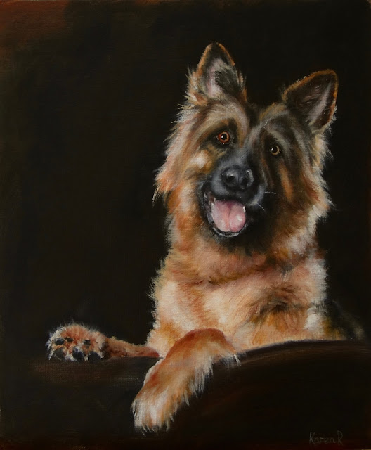 pet portrait, oil painting of German shepherd pup - a cheerful chap