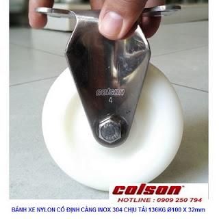 Bánh xe PA phi 100 không xoay càng inox 304 Colson Mỹ | 2-4408-254 www.banhxedayhang.net