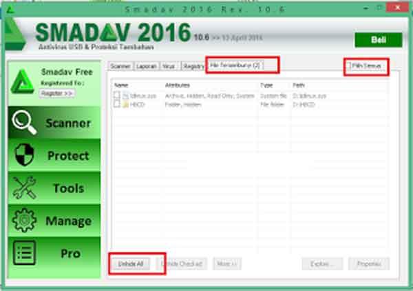 Cara Menampilkan Folder Tersembunyi di Windows Menggunakan Smadav ...
