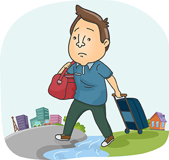 What happens when you get bumped off your flight? No dragging should be involved.