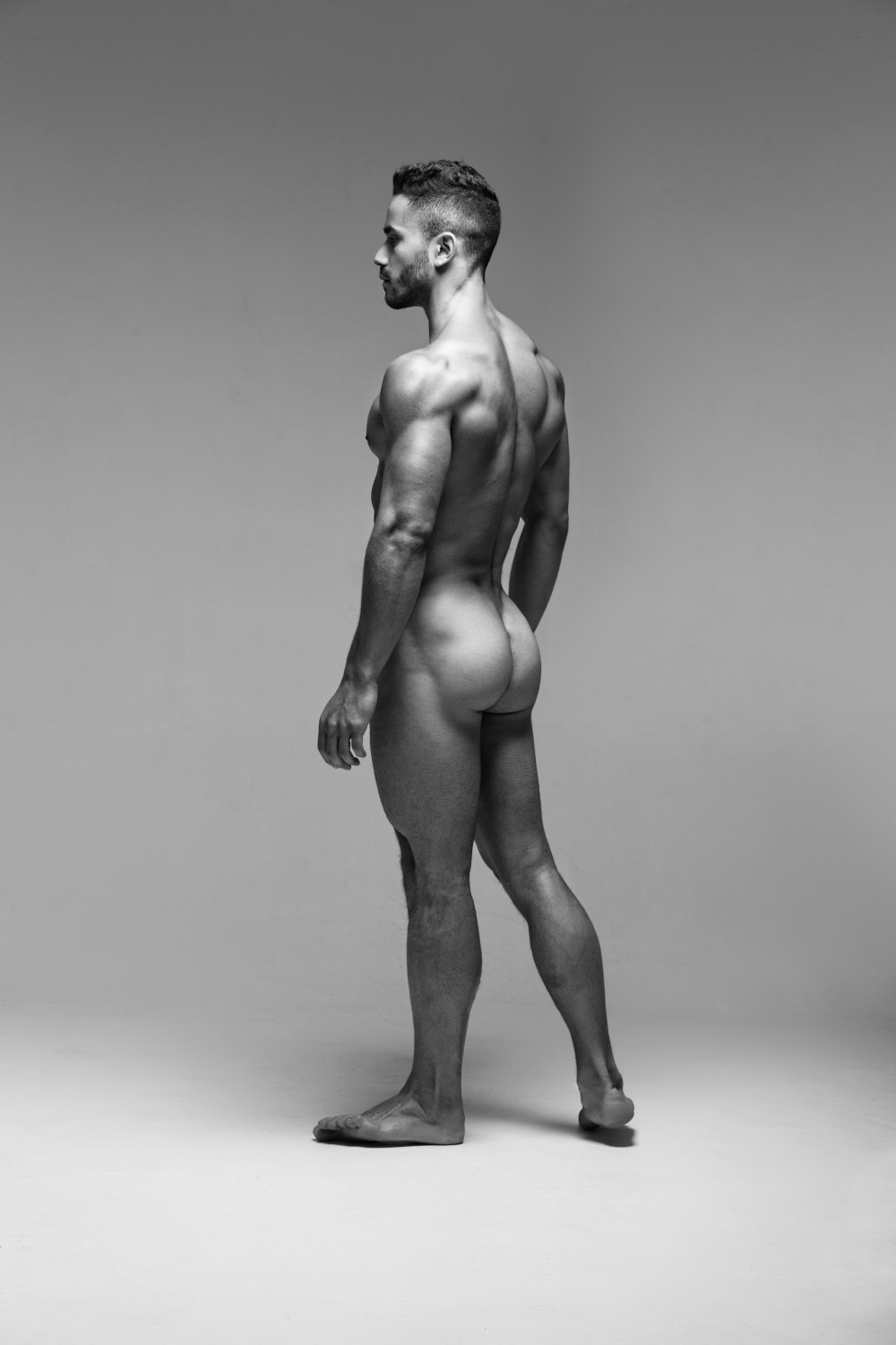 Nude male art models with erections