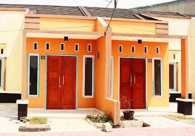 Desain Terbaru Kombinasi Warna Cat Orange, Hitam Dan Putih Tampak Depan 2