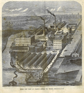 Historic bird's eye lithograph of the Astral Oil works showing buildings, smoke stacks, boat landing and former Bushwick Creek.