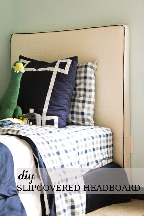 lovesome: make it: diy slipcovered headboard (with piping!)