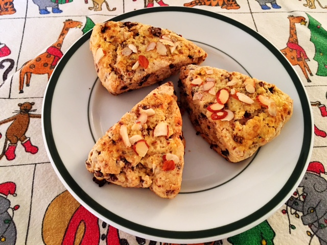 Dried Cherry and Candied Ginger Scones @LucyBurdette #Christmasweek