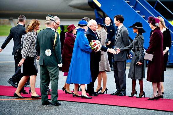 Welcome ceremony for Slovakia President Ivan Gasparovic and his wife Silvia Gasparovicova. Crown Princess Mary, Princess Marie