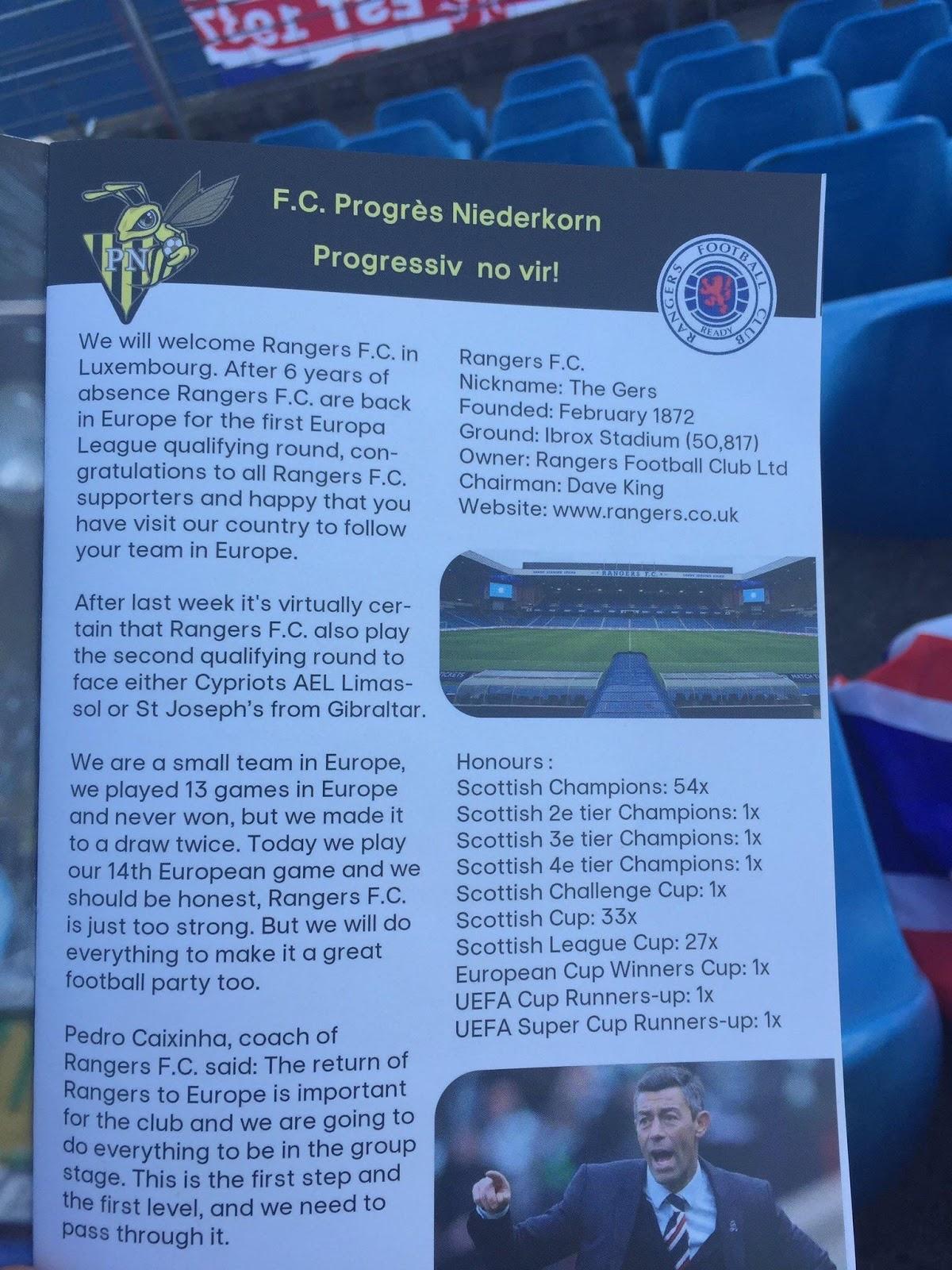 Progres Niederkorn - Rangers