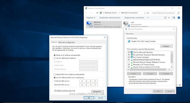 Modifying the DNS Server address in windows 10
