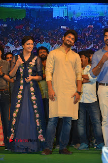 Actress Keerthi Suresh Stills in Blue Long Dress at Nenu Local Audio Launch  0060.JPG