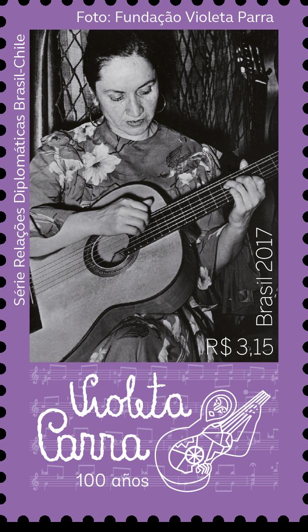 Filatelia│Violeta Parra, compositora e cantora Chilena, homenageada pelos Correios