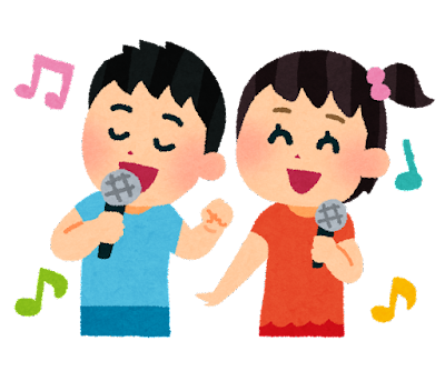 カラオケを歌う子供達のイラスト