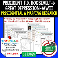 President Roosevelt, American History Research Graphic Organizers, American History Map Activities, American History Digital Interactive Notebook, American History Presidential Research, American History Summer School