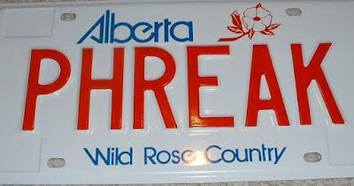 Alberta personalized licence plate PHREAK