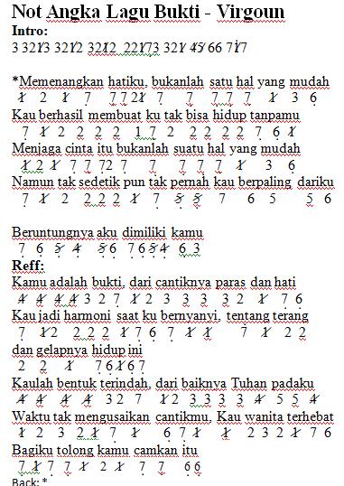 not angka lagu Bukti Virgoun