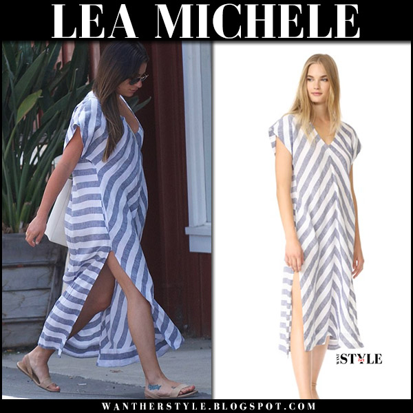 Lea Michele in stripe navy white maxi dress celebrities in ayr summer august 20 2017