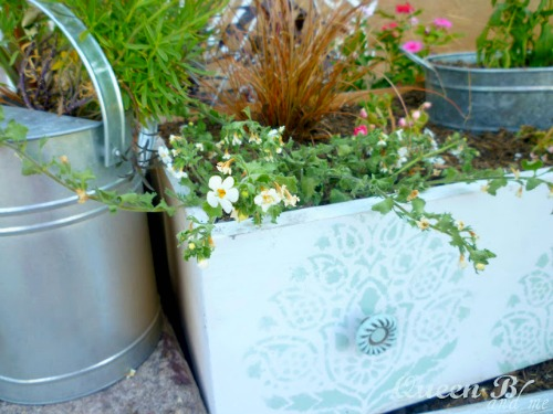 Drawer Makeover into a Planter Flowerbed by Queen B & Me