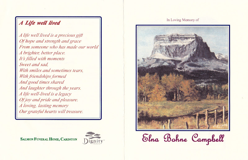 A Poem On The Back Of Program Tells Life Well Lived Painting Chief Mountain By Her Daughter Jean My Mother Was Placed Front