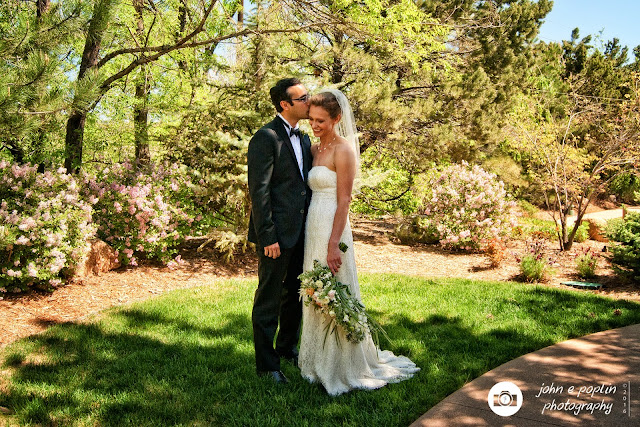formal photograph of a bride and groom on their wedding day in Colorado