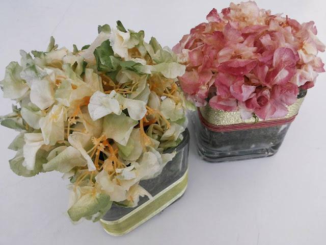 Hortensias Verdes y Ocres NCentros de Mesa con Hortensias Preservadas Arreglos Decoración Manualidades