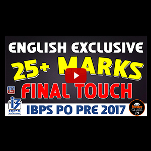 Master Class | 25 + Marks | English Exclusive | Lecture 19 | IBPS PO 2017