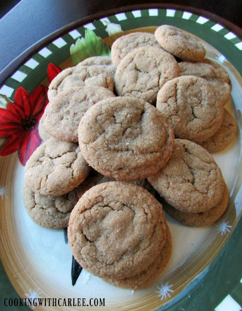 platter of chewy molasses spice cookies