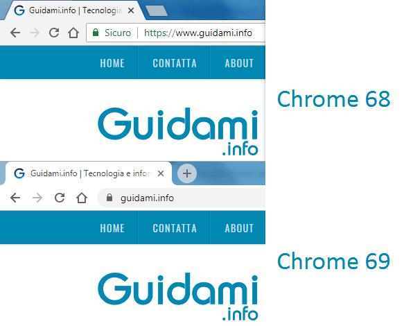 Interfaccia grafica Chrome 68 e Chrome 69 a confronto