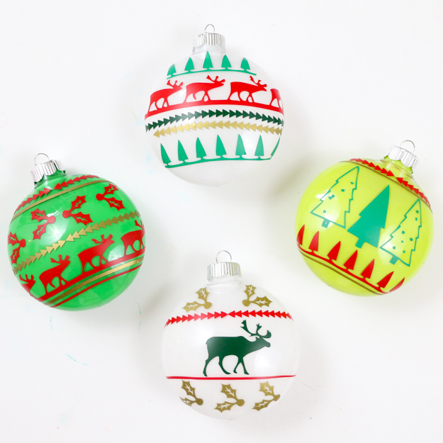 DIY Ugly Christmas Sweater Ornaments - Learn how to use adhesive vinyl to make your own Christmas ornaments - DIY Holiday - Nordic Sweater - Nordic Holiday