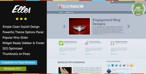 Free Elles - WordPress Theme Use Accordion Slideshow jQuery Effect