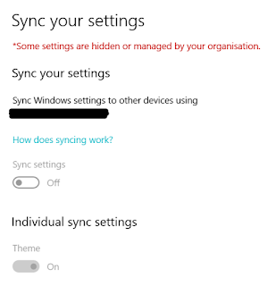 Windows 10 sync settings greyed out